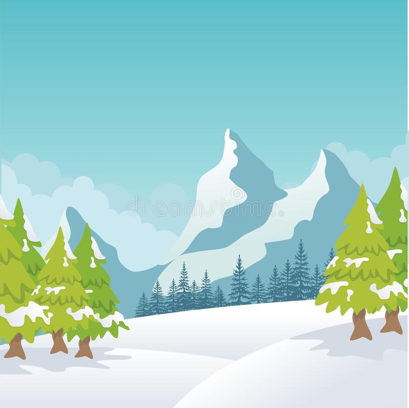 Winter Landscape with lovely scenery cartoon design. Snowy hill and mountain with oak tree, suitable for Banner, Background, flyer, brochure, christmas card vector illustration