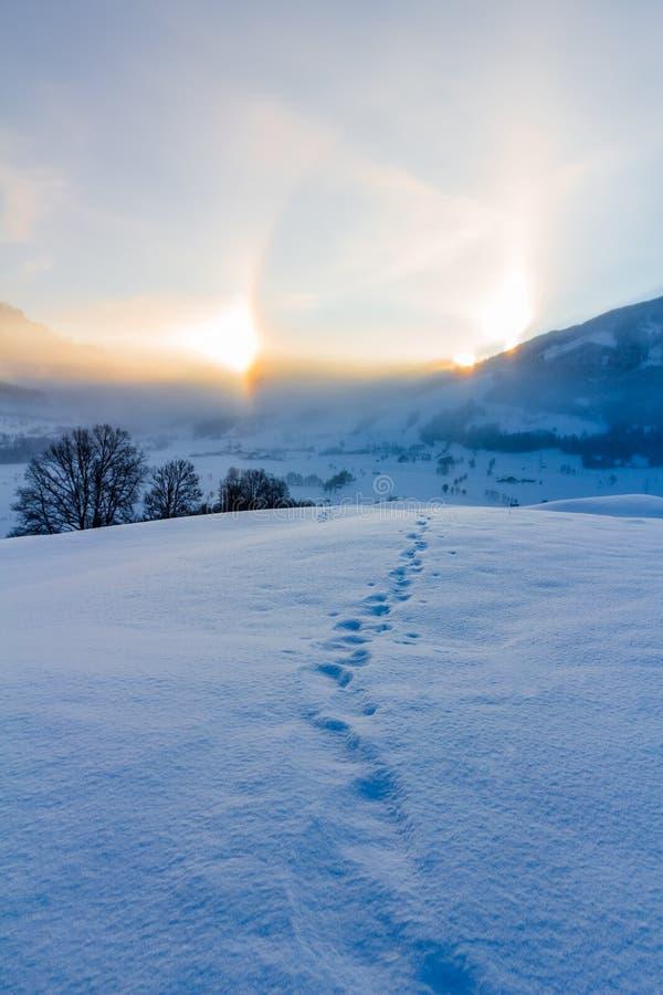 Snowy winter landscape in the alps, sunrise with halo phenomena. Winter landscape in the morning: Sunrise and halo phenomena, alps, snow, nature, beauty stock photo