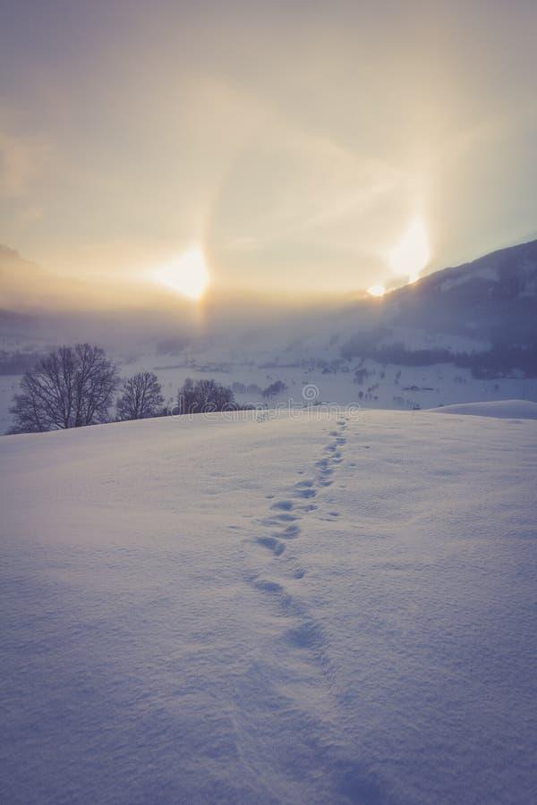 Snowy winter landscape in the alps, sunrise with halo phenomena. Winter landscape in the morning: Sunrise and halo phenomena, alps, snow, nature, beauty stock image