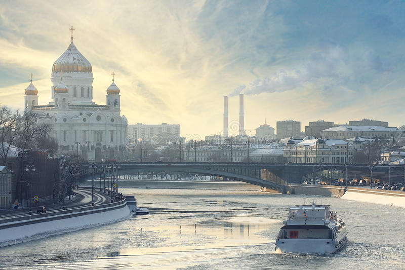 Winter landscape Moscow embankment stock photos
