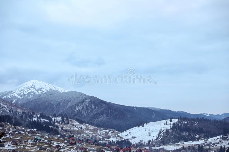 Winter landscape with mountain village. Near conifer forest stock photos