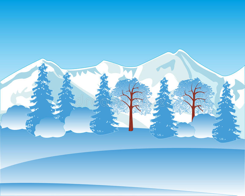 Winter landscape with mountain and wood royalty free illustration