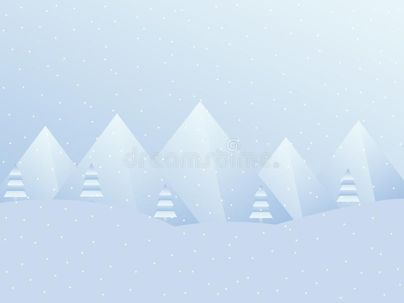 Winter landscape with mountains. A festive background for Christmas, New Year. Vector stock illustration