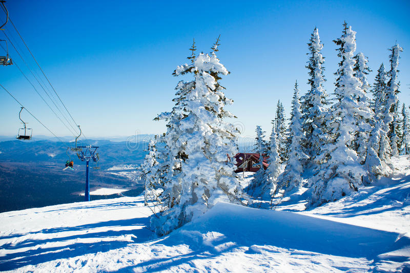 Winter landscape in mountains stock images