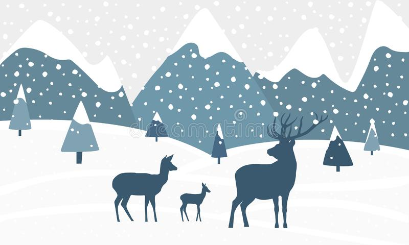 Winter landscape with mountains, hills, deer and falling snow. vector illustration