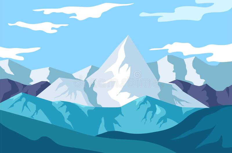 Winter landscape, mountains view, snowy rocks and wild nature stock illustration