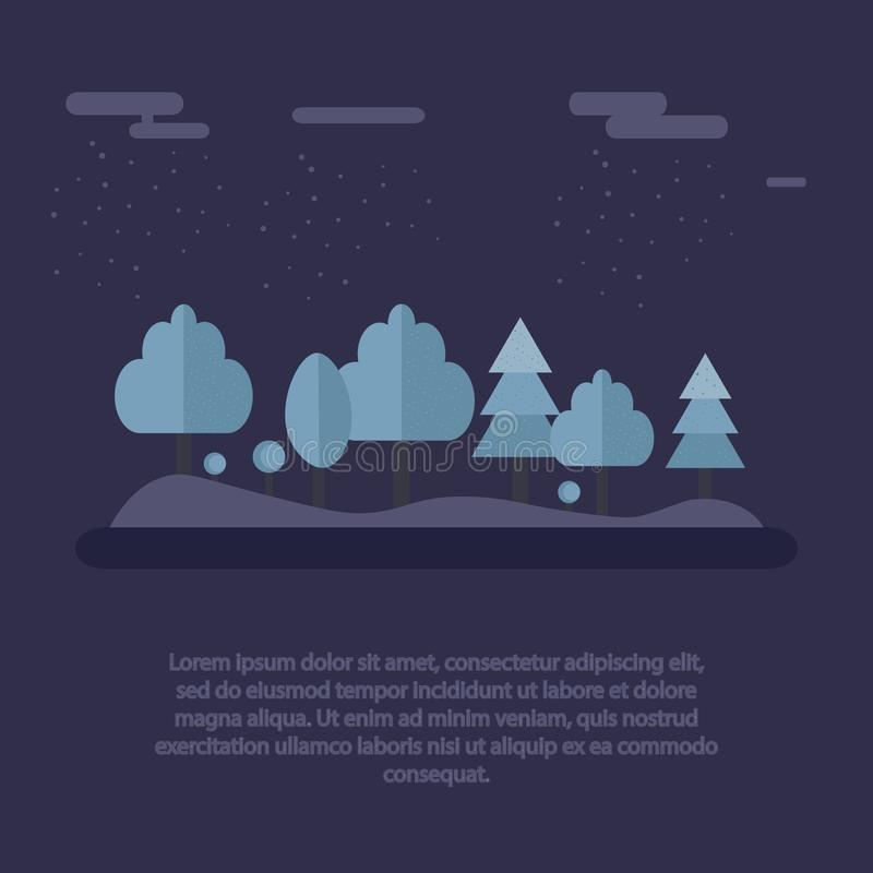 Night in winter forest. Beautiful landscape snowy trees at night time. Vector illustration. vector illustration