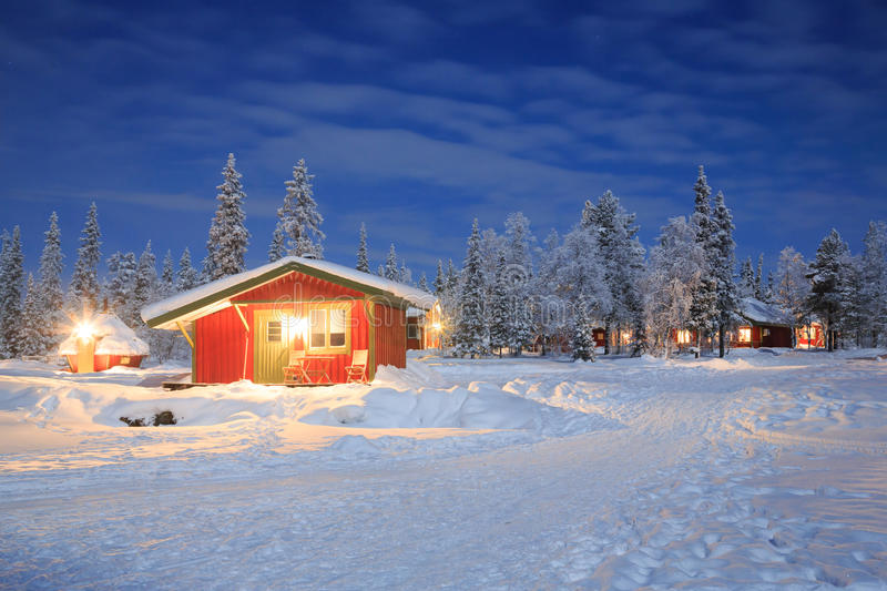 Winter landscape at Night Lapland Sweden stock photography