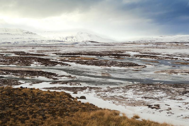 Winter landscape in North Iceland stock photography