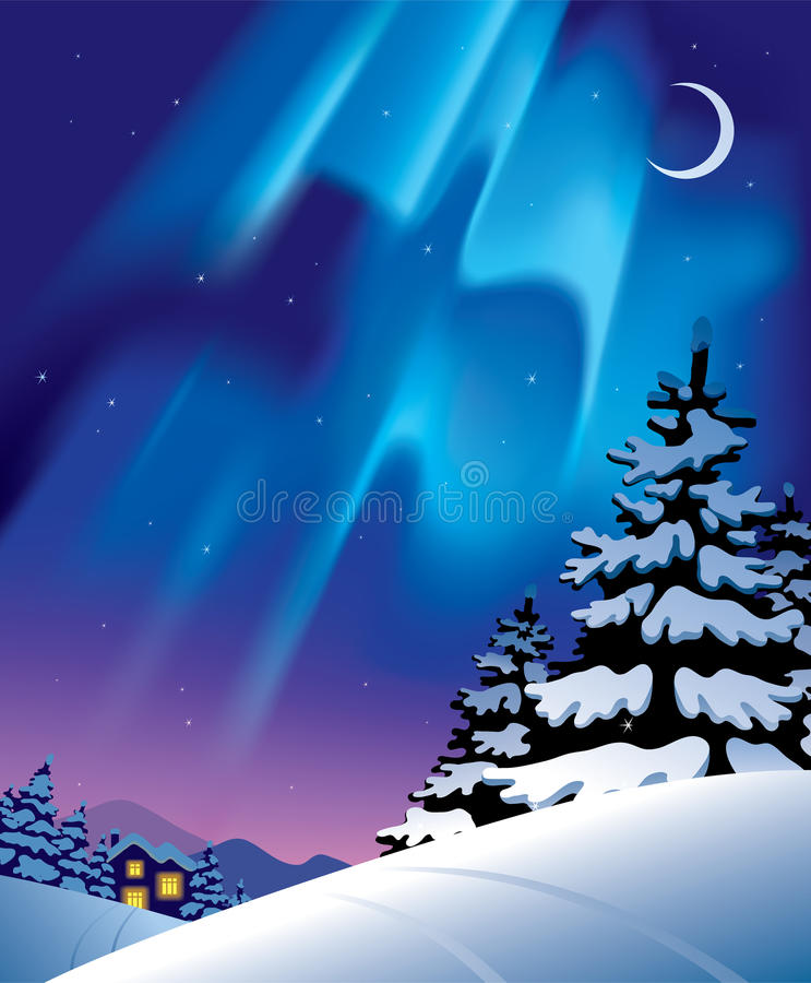 Winter landscape with the northern lights royalty free illustration