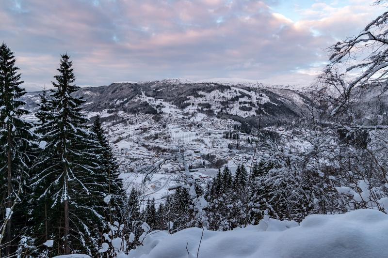 Winter landscape in Norway with trees mountains. Winter landscape in Norway trees mountains stock photos
