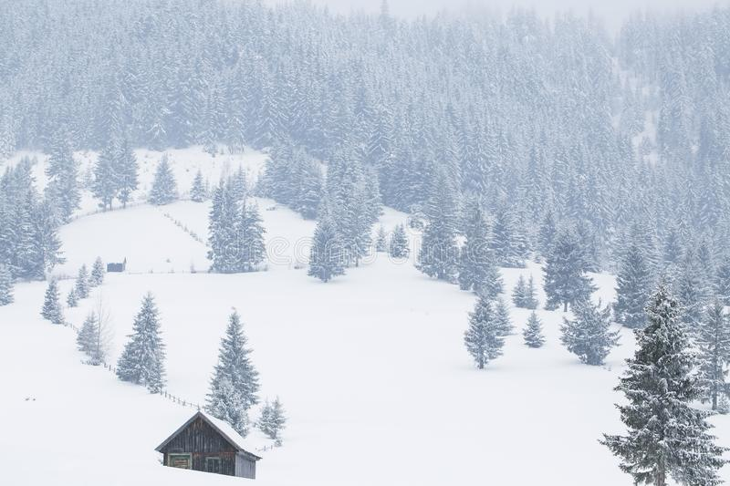 Winter landscape with old wood cabin and heavy snow stock photos