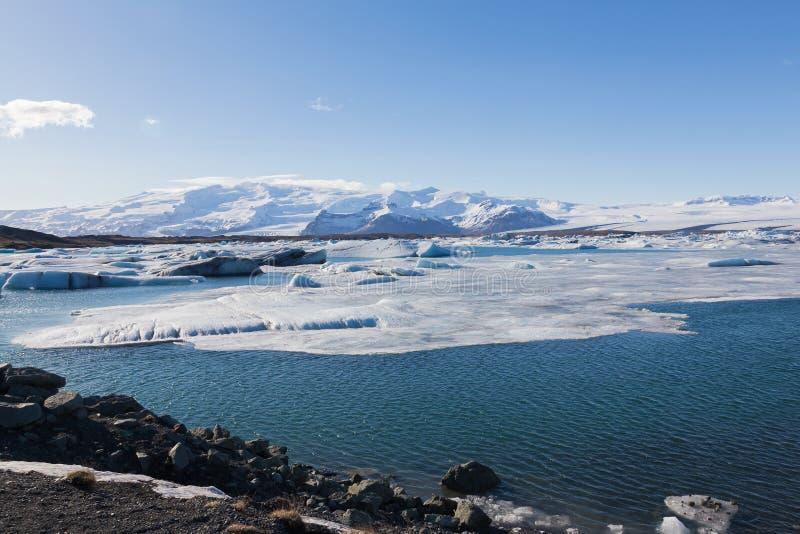 Winter landscape over Jokulsarlon lake, Iceland stock image