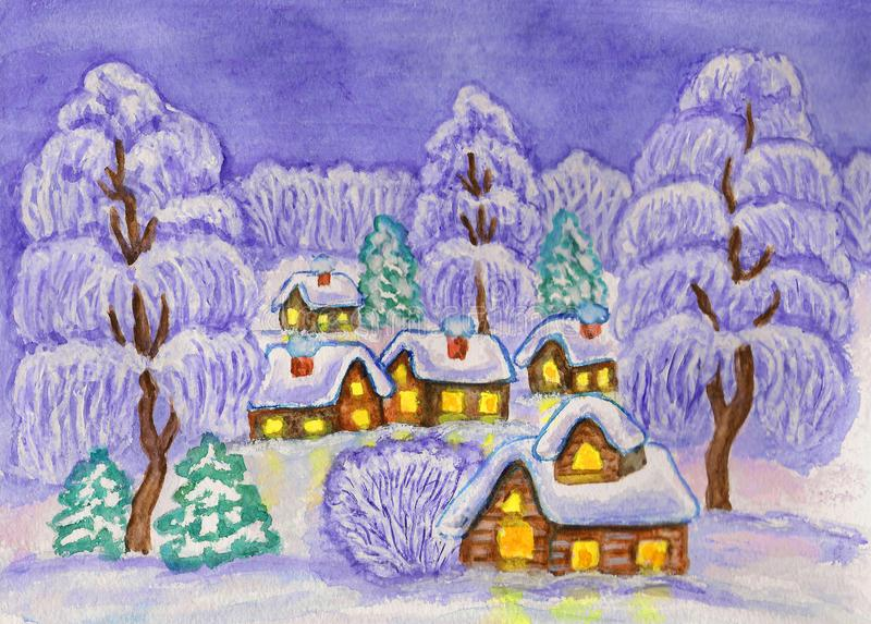 Winter landscape, painting stock illustration