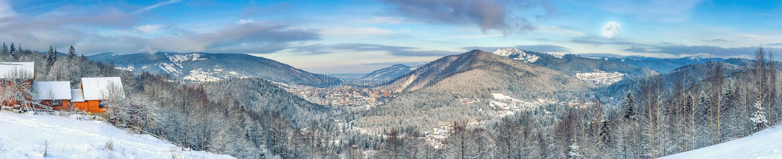 Winter landscape, panorama, banner - top view of the snowy mountain valley in the Carpathians royalty free stock photography