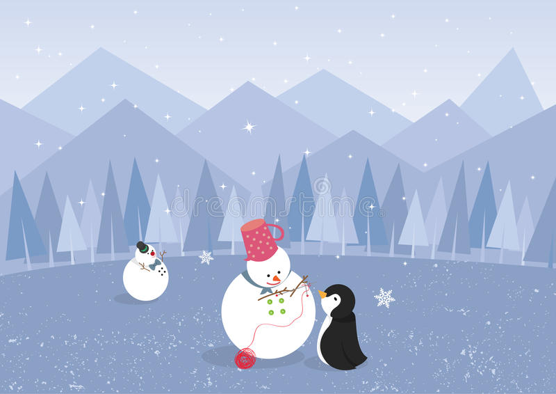Winter landscape with penguin and cute snowman (ve vector illustration