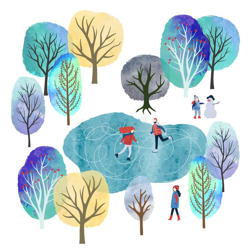 Winter landscape with people vector watercolor illustration. Christmas card design stock illustration