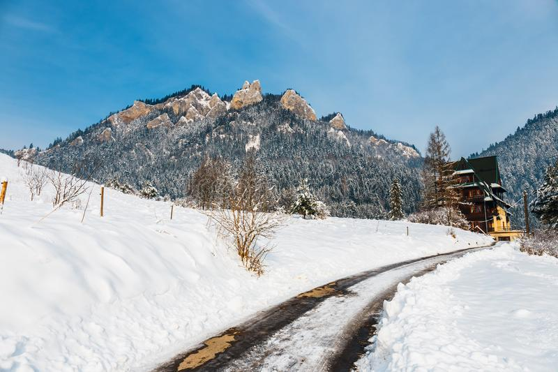 Winter landscape in Pieniny Mountains. Three Crowns, Poland stock photography