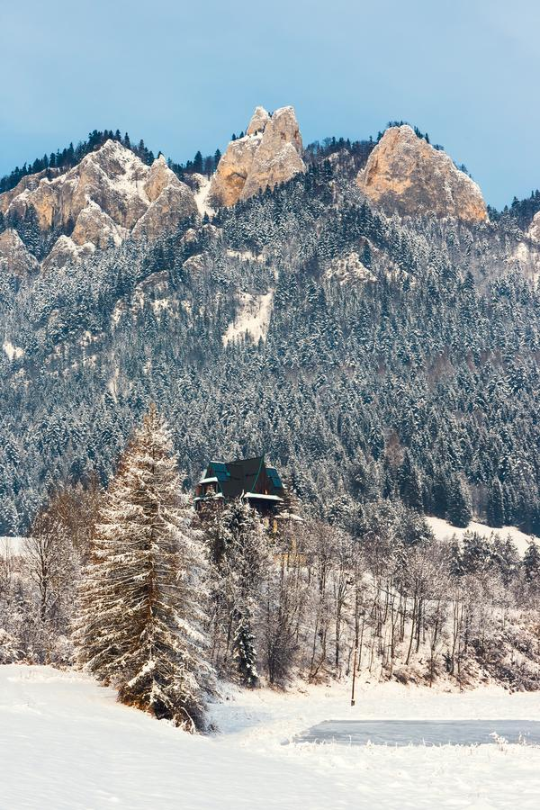 Winter landscape in Pieniny Mountains. Three Crowns, Poland royalty free stock photography
