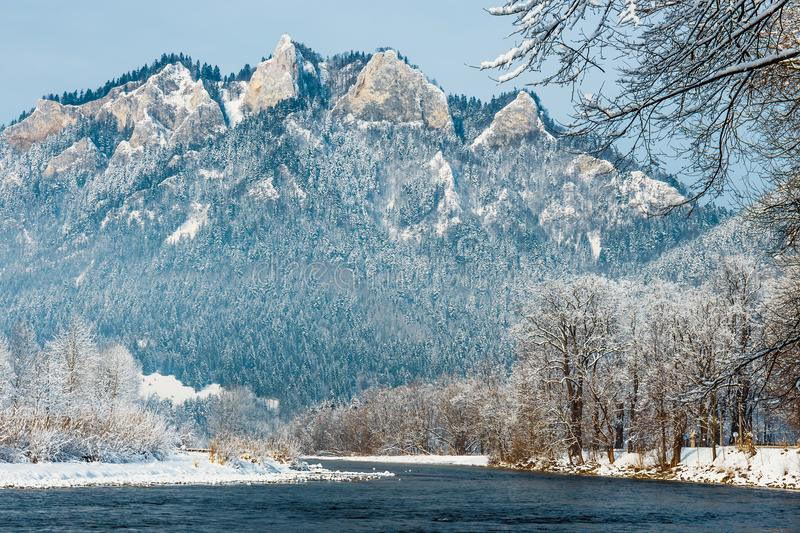 Winter landscape in Pieniny Mountains. Three Crowns, Poland royalty free stock images