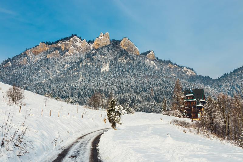 Winter landscape in Pieniny Mountains,. Three Crowns, Poland royalty free stock images