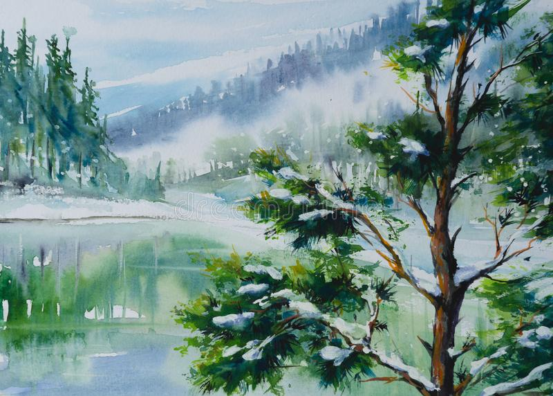Winter landscape with pine tree stock illustration