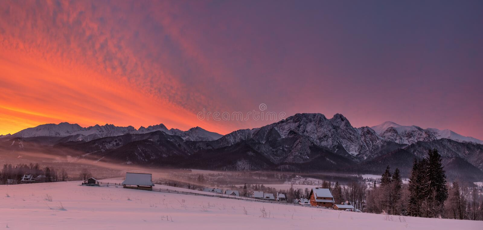 Winter Landscape Of Poland Tatra Mountains & Giewont Peak. View At Most Famous Polish Ski Resort Zakopane From The Top Of Gubalowk stock image
