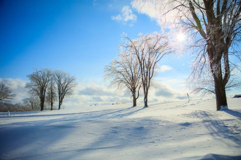 Winter landscape of Quebec - Canada stock photos