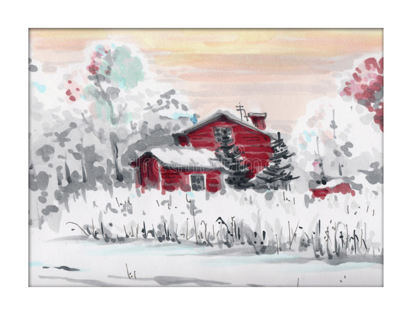 Winter landscape with red house royalty free stock photo
