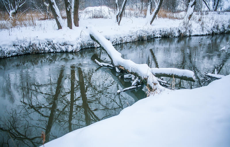 Download Winter Landscape With Rive Stock Photo - Image: 83714142
