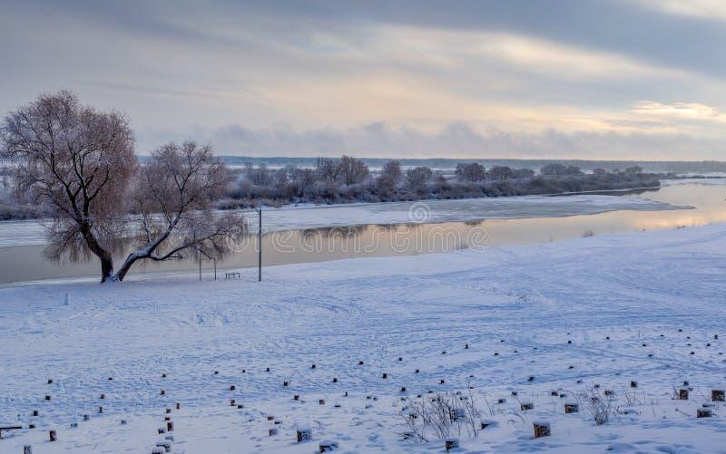 Winter landscape of river Dnepr. Snowy winter landscape of river Dnepr in Rogachev city Belarus stock photography