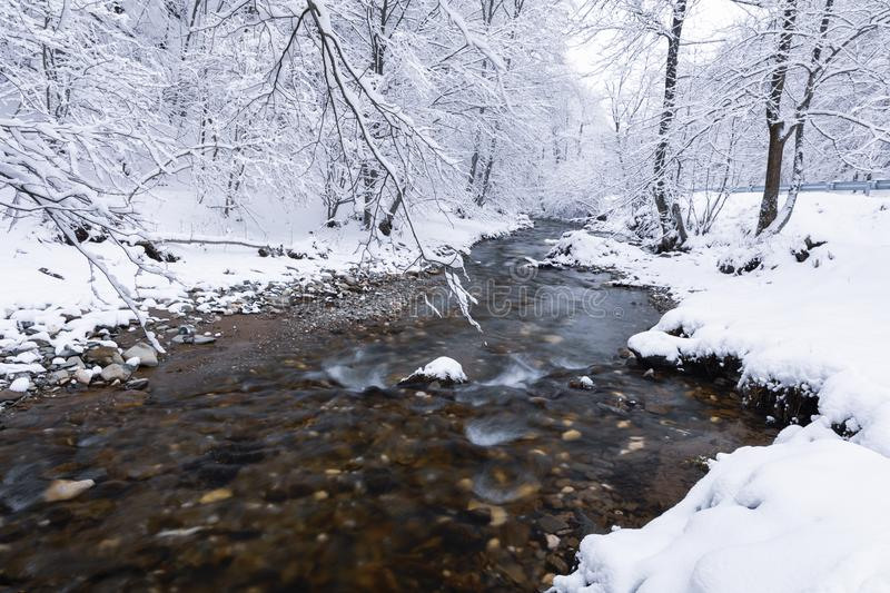 Winter landscape with a river stock photography