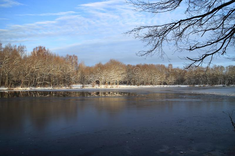Winter landscape the river is icebound. Beautiful winter landscape the river is icebound, the trees under the snow are lit by the setting sun stock photo