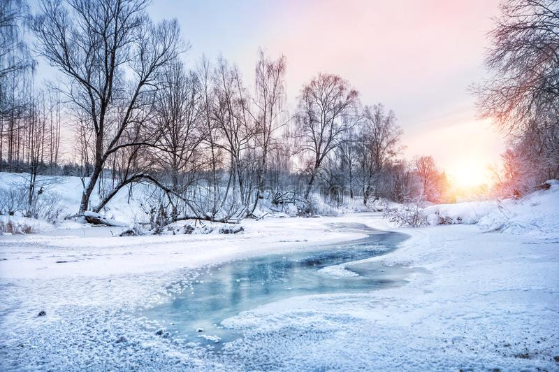 Winter landscape on the river stock images