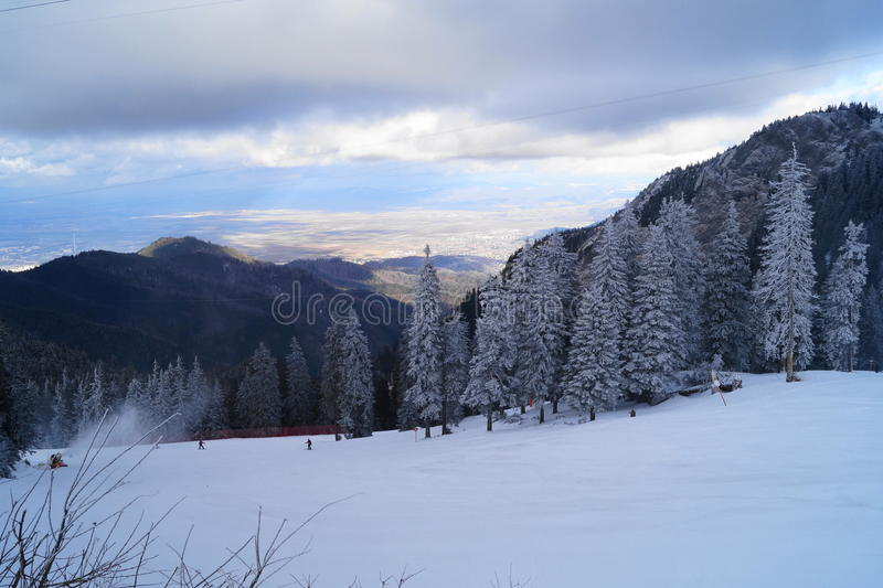 Winter landscape in Romania royalty free stock photography