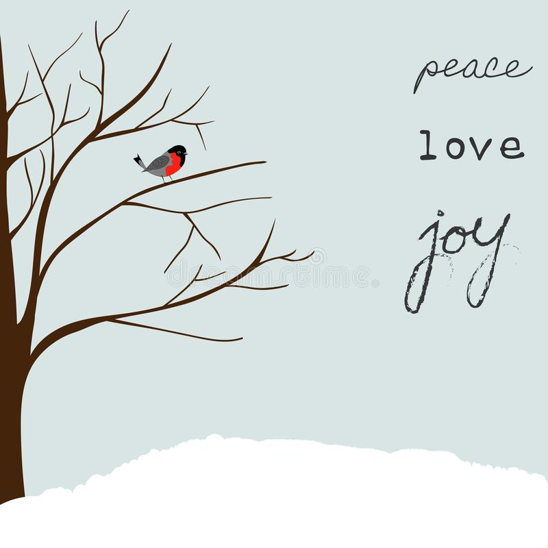 Winter Landscape Scene. Christmas New Year Greeting Card. Forest Falling Snow Red Capped Robin Bird Sitting on Tree. Blue Sky. Han. D Lettering Peace Love Joy vector illustration