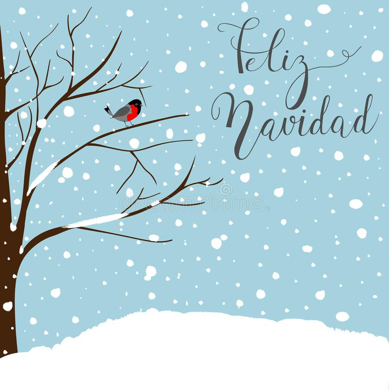 Winter Landscape Scene. New Year Greeting Card. Forest Falling Snow Red Capped Robin Bird Sitting on Tree. Blue Sky.Feliz Navida d stock illustration