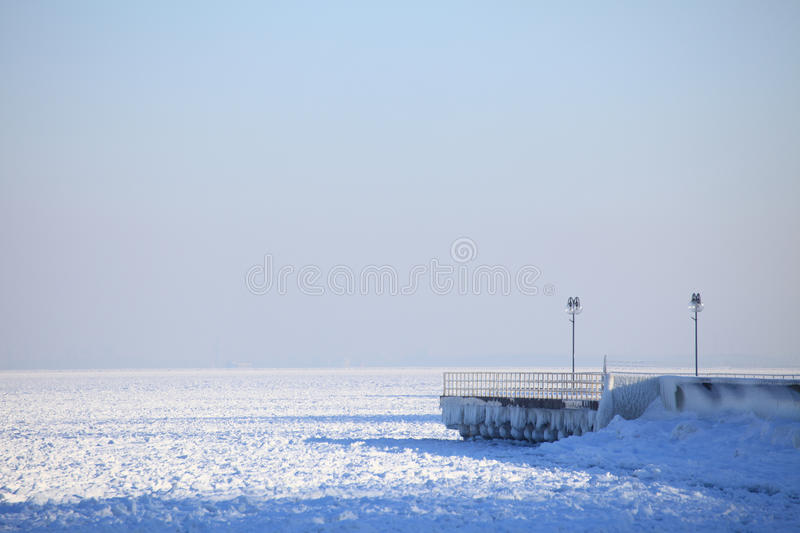 Winter landscape sea and snow and ice. Composition of nature royalty free stock images