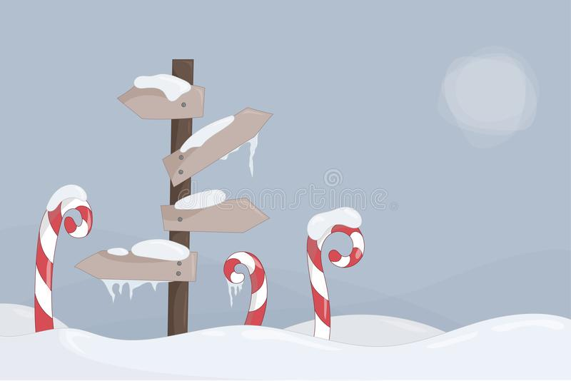 Winter landscape with signs and candy canes vector vector illustration