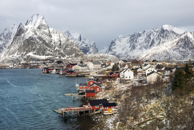Winter landscape of small fishing port Reine on Lofoten Islands, Norway royalty free stock image