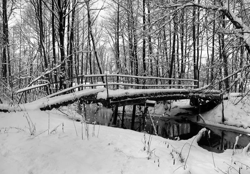 Winter Landscape With Small River And Foot-path Stock Photo