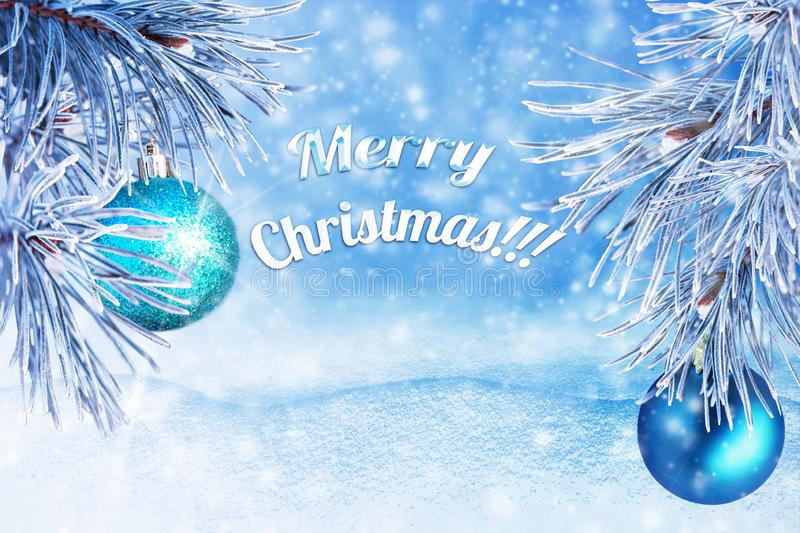 Winter landscape with snow. Christmas background with fir branch and Christmas ball.Merry Christmas and happy New Year greeting ca stock photos