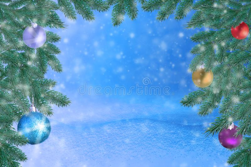 Winter landscape with snow. Christmas background with fir branch and Christmas ball.Merry Christmas and happy New Year greeting ca. Rd with copy-space stock images