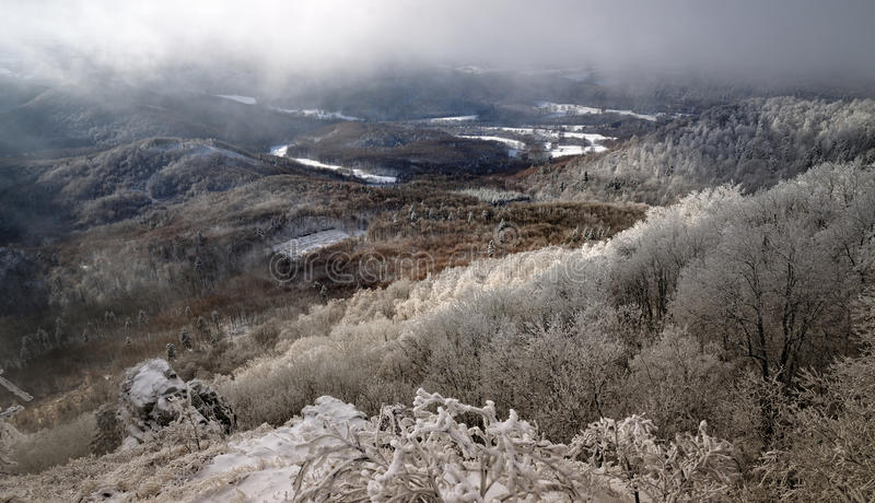 Winter landscape with snow in mountains, Sitno stock images