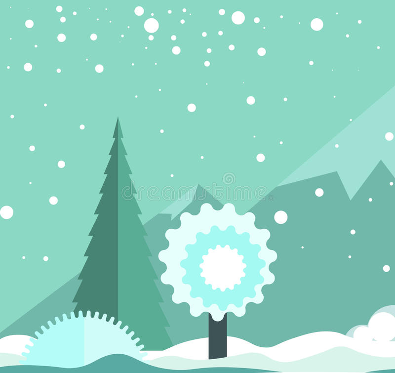 Winter landscape with snowfall, high mountains and frozen trees royalty free illustration