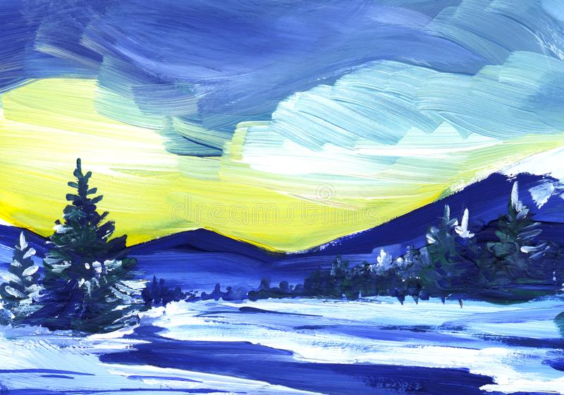 Winter landscape. The snowy field is a dark, winding river. High dark blue silhouettes of fir trees on a background of yellow sky. stock illustration