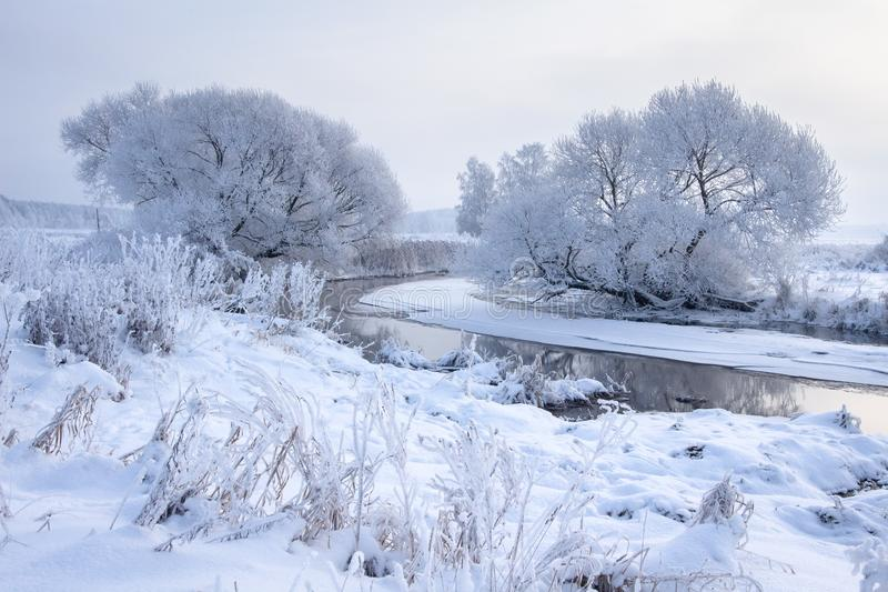 Winter landscape. Snowy trees on riverside. Cold frost weather. Hoarfrost on tree branches. Frosty nature background. Christmas. And New Year background stock image