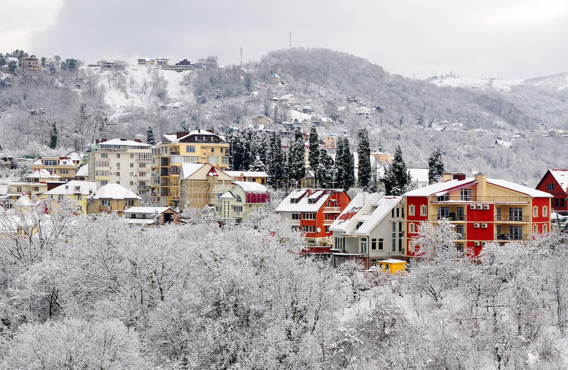 Winter landscape of Sochi stock photo