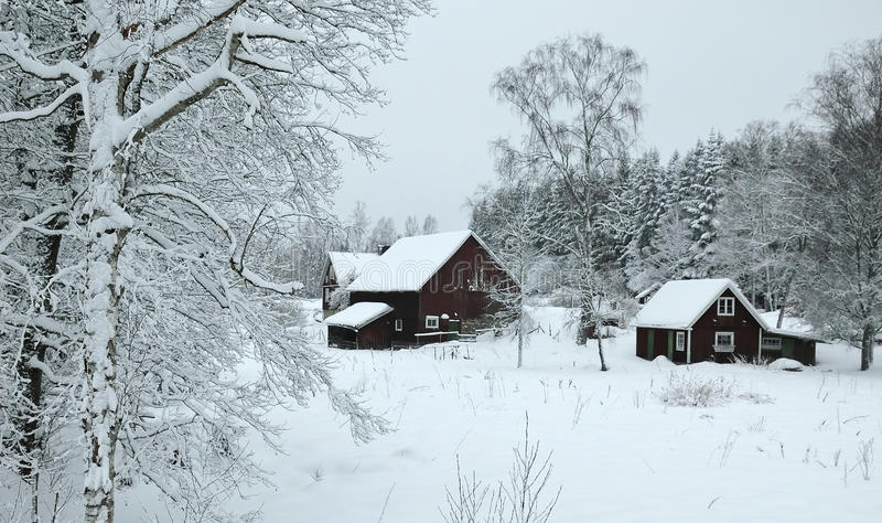 Winter landscape in southern Sweden stock photos