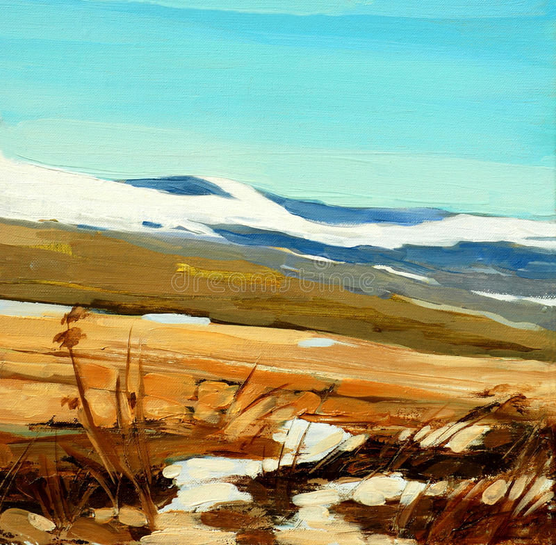 Winter landscape in spanish mountains, painting royalty free illustration